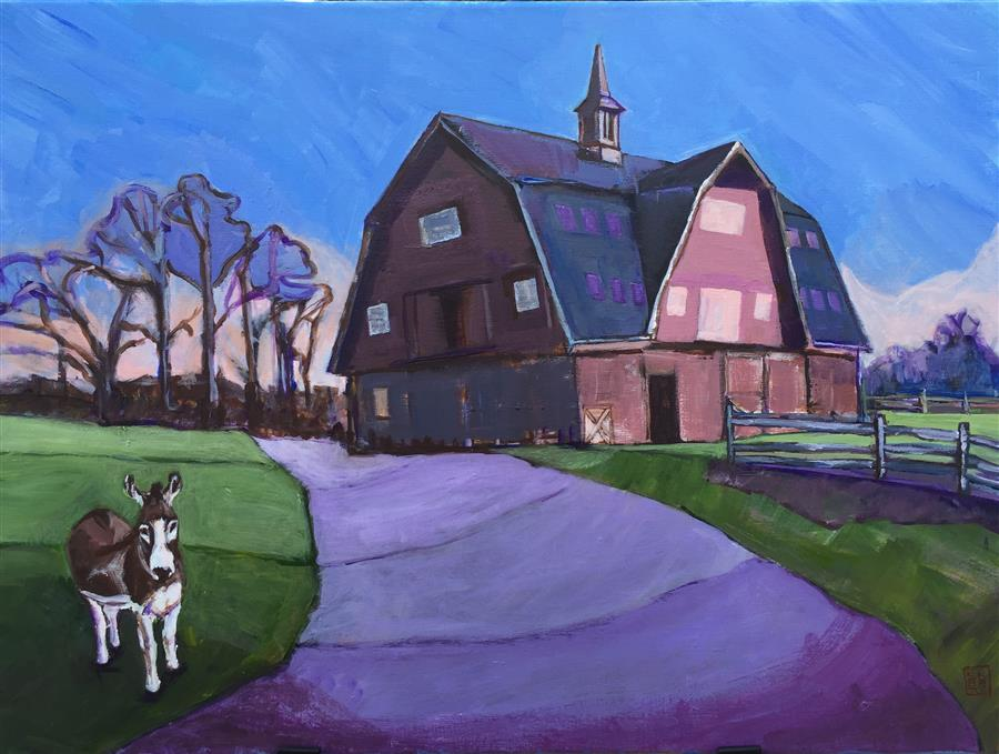 Original art for sale at UGallery.com | Barn with a Donkey by LAURA (YI ZHEN) CHEN | $775 | Acrylic painting | 18' h x 24' w | ..\art\acrylic-painting-Barn-with-a-Donkey