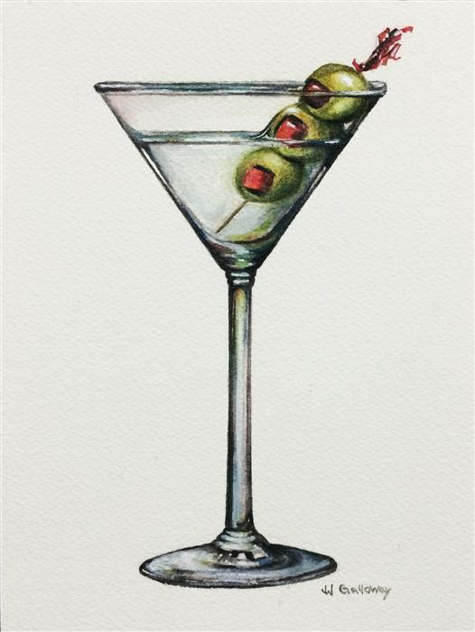Original art for sale at UGallery.com | Martini by JJ GALLOWAY | $175 |  | 8' h x 6' w | ..\art\watercolor-painting-Martini