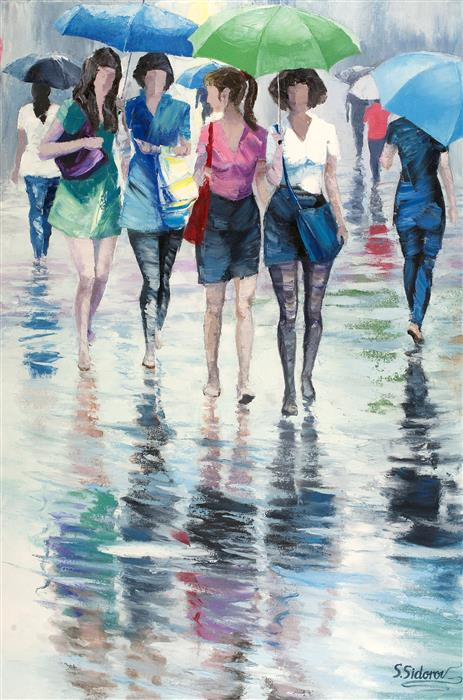 Original art for sale at UGallery.com | It's Just the Rain by STANISLAV SIDOROV | $1,800 |  | 36' h x 24' w | ..\art\oil-painting-It-s-Just-the-Rain