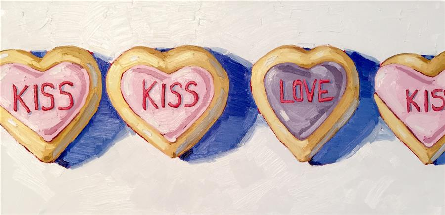 Original art for sale at UGallery.com | Kiss Kiss by NICOLE NEWSTED | $2,175 |  | 18' h x 36' w | ..\art\oil-painting-Kiss-Kiss