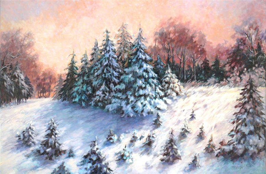 Original art for sale at UGallery.com | Volunteer Pines by SUZANNE MASSION | $1,675 |  | 32' h x 44' w | ..\art\oil-painting-Volunteer-Pines