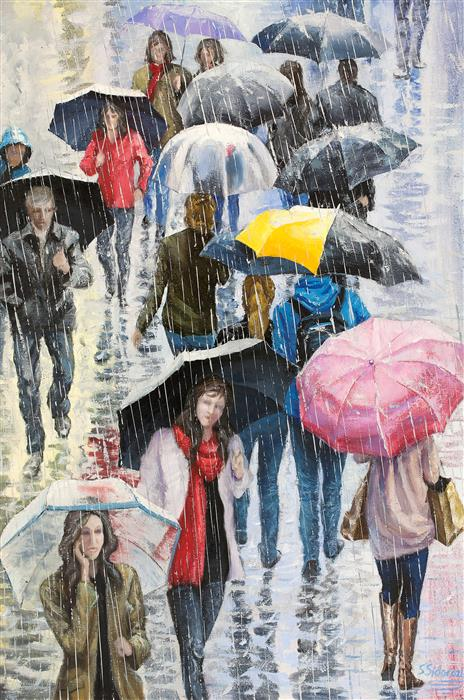 Original art for sale at UGallery.com | Umbrellas in the Big City, New York by STANISLAV SIDOROV | $1,800 |  | 36' h x 24' w | ..\art\oil-painting-Umbrellas-in-the-Big-City-New-York