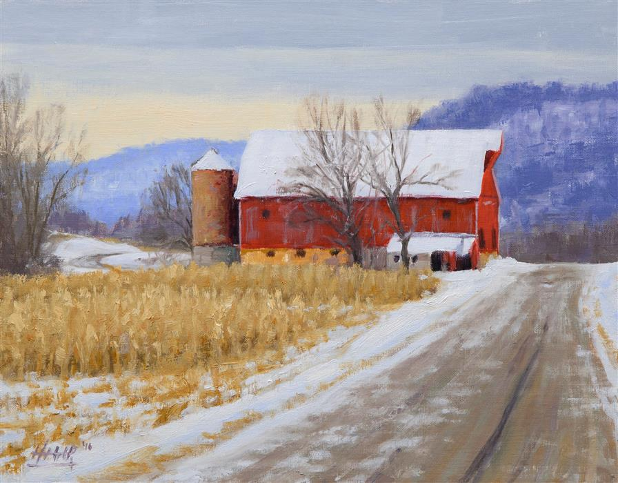 Original art for sale at UGallery.com | Mulcahey's Barn by NATHAN HAGER | $800 |  | 11' h x 14' w | ..\art\oil-painting-Mulcahey-s-Barn