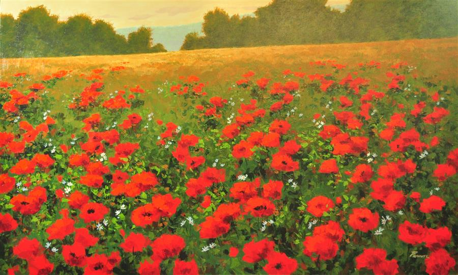 Original art for sale at UGallery.com | Red Poppies 1 by ROBERT PENNOR | $2,850 |  | 36' h x 60' w | ..\art\acrylic-painting-Red-Poppies-1