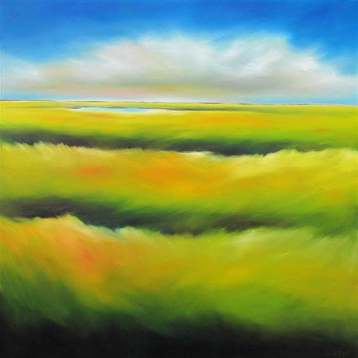 Original art for sale at UGallery.com | Marsh Colorscape by NANCY HUGHES MILLER | $900 | Oil painting | 24' h x 24' w | ..\art\oil-painting-Marsh-Colorscape