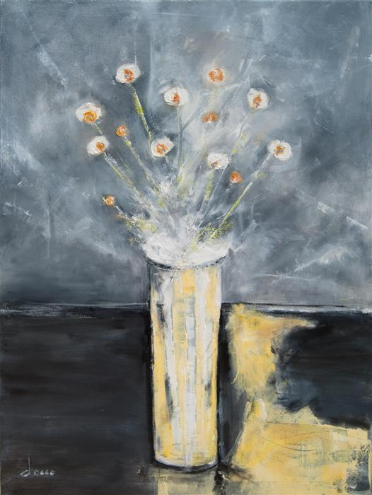Original art for sale at UGallery.com | Arrangement in Gray 3 by ANNE DOSSO-POWELL | $2,550 | Oil painting | 40' h x 30' w | ..\art\oil-painting-Arrangement-in-Gray-3