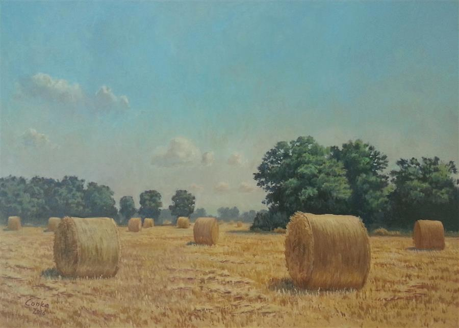 Original art for sale at UGallery.com | Midday with Bales by STEFAN CONKA | $1,350 |  | 19.6' h x 27.5' w | ..\art\oil-painting-Midday-with-Bales