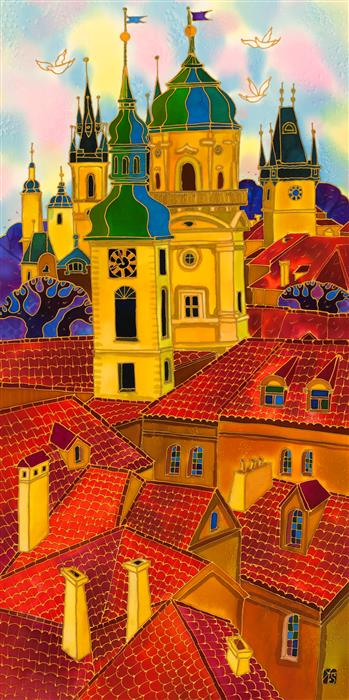 Original art for sale at UGallery.com | Red Roofs Prague 3 by YELENA SIDOROVA | $1,275 |  | 36' h x 18' w | ..\art\mixed-media-artwork-Red-Roofs-Prague-3