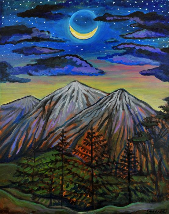 Original art for sale at UGallery.com | Summer Moon by Kira Yustak | $975 | acrylic painting | 30' h x 24' w | ..\art\acrylic-painting-Winter-Moon-42770