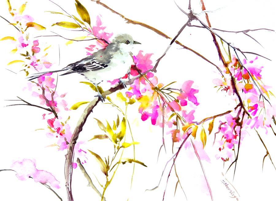 Original art for sale at UGallery.com | Mockingbird and Cherry Blossom by SUREN NERSISYAN | $400 |  | 12' h x 16' w | ..\art\watercolor-painting-Mockingbird-and-Cherry-Blossom