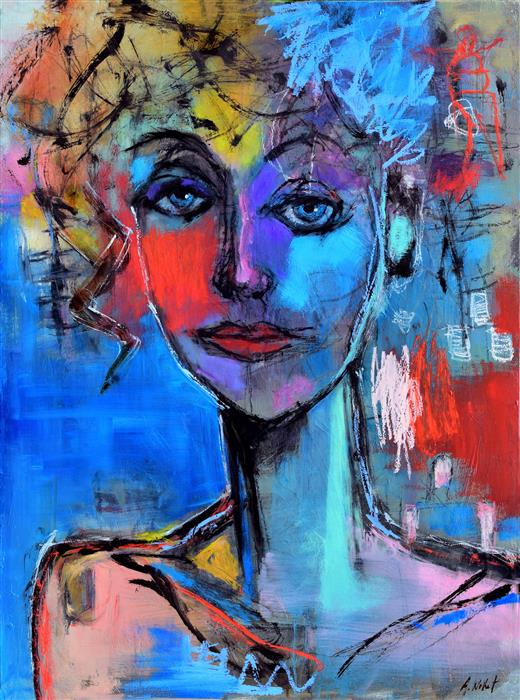 Original art for sale at UGallery.com | Moody Blue Woman by ALLEN WITTERT | $2,500 | Oil painting | 40' h x 30' w | ..\art\oil-painting-Moody-Blue-Woman
