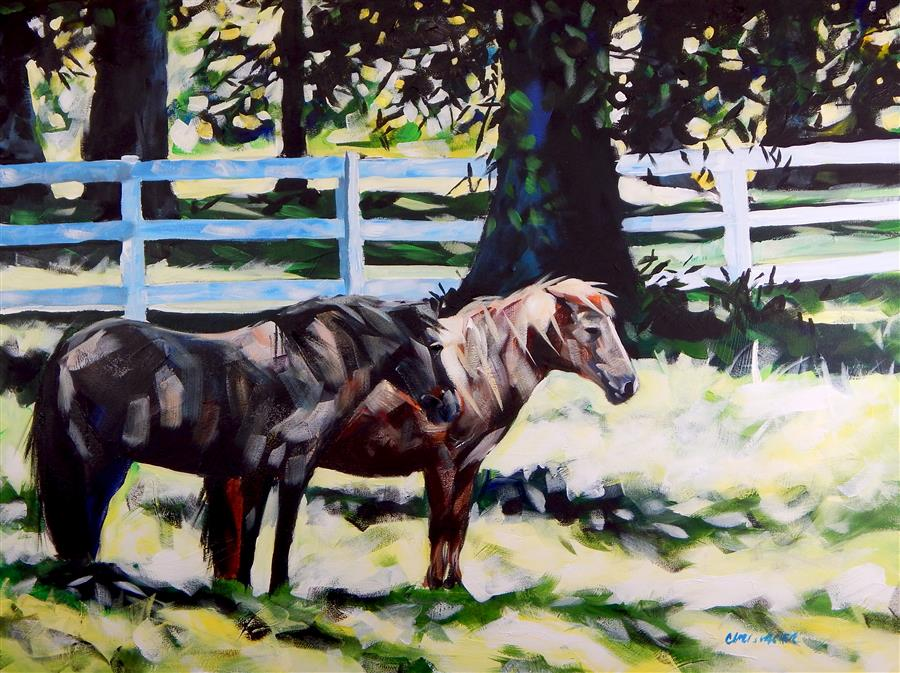 Original art for sale at UGallery.com | July Horses by Chris Wagner | $2,000 | acrylic painting | 30' h x 40' w | ..\art\acrylic-painting-July-Horses