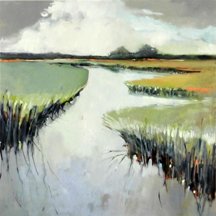 Original art for sale at UGallery.com | Light in Marsh by MARY PRATT | $2,750 | Oil painting | 40' h x 40' w | ..\art\oil-painting-Light-in-Marsh