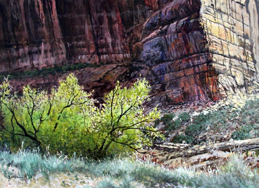 Original art for sale at UGallery.com | Canyon Wall by KENT SULLIVAN | $2,625 | Oil painting | 18' h x 24' w | ..\art\oil-painting-Canyon-Wall