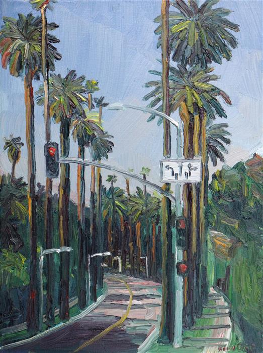Original art for sale at UGallery.com | Beverly Drive, Beverly Hills by JOHN KILDUFF | $550 | Oil painting | 16' h x 12' w | ..\art\oil-painting-Beverly-Drive-Beverly-Hills