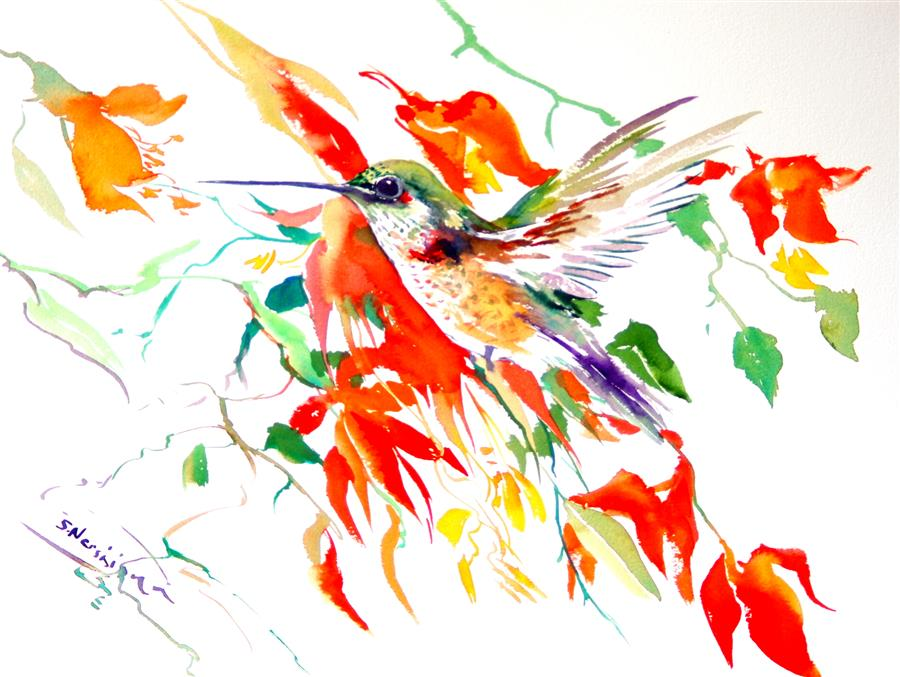 Original art for sale at UGallery.com | Hummingbird and Red Flowers by SUREN NERSISYAN | $475 | Watercolor painting | 12' h x 16' w | ..\art\watercolor-painting-Hummingbird-and-Red-Flowers