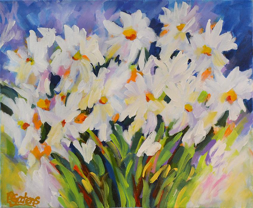 Original art for sale at UGallery.com | Summer Daisies by PAMELA GATENS | $575 | Acrylic painting | 16' h x 20' w | ..\art\acrylic-painting-Summer-Daisies