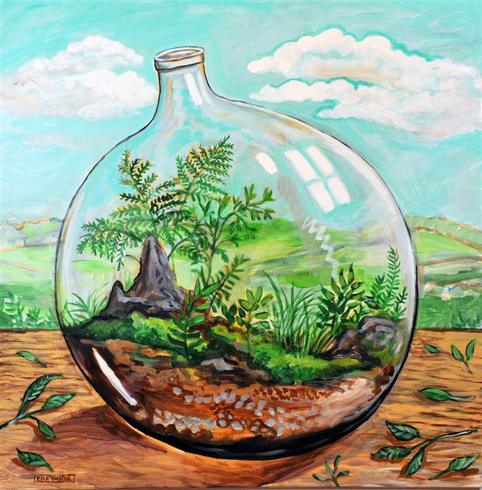 Original art for sale at UGallery.com | Terrarium by KIRA YUSTAK | $1,075 |  | 30' h x 30' w | ..\art\acrylic-painting-Terrarium-43087