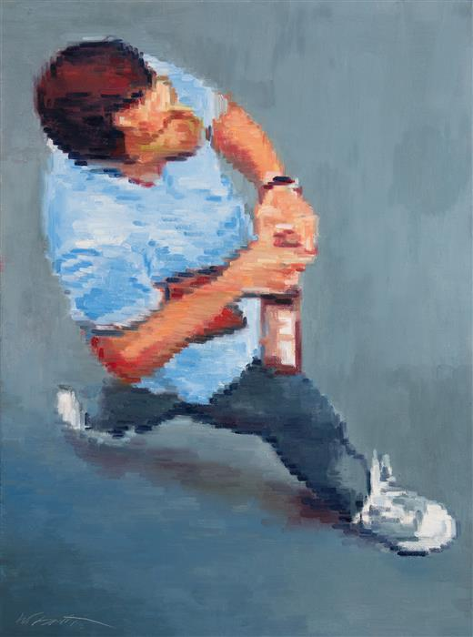 Original art for sale at UGallery.com | Aerial View of Man Opening Beer Bottle by WARREN KEATING | $1,725 |  | 24' h x 18' w | ..\art\oil-painting-Aerial-View-of-Man-Opening-Beer-Bottle