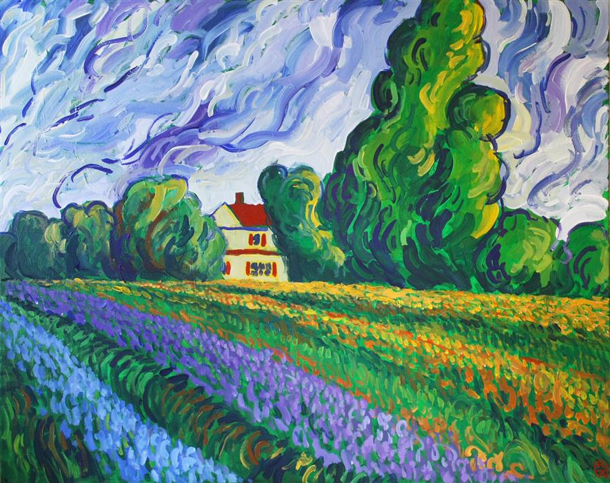 Original art for sale at UGallery.com | Field of Flowers by ROBERT HOFHERR | $1,075 | Acrylic painting | 24' h x 30' w | ..\art\acrylic-painting-Field-of-Flowers-43292