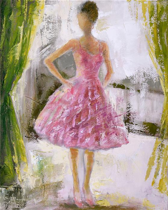 Original art for sale at UGallery.com | The Girl in the Pink Taffeta by NAOKO PALUSZAK | $1,325 | Oil painting | 20' h x 16' w | ..\art\oil-painting-The-Girl-in-the-Pink-Taffeta