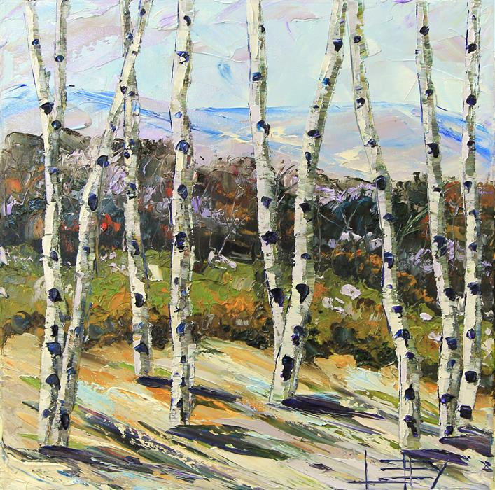 Original art for sale at UGallery.com | Birch Eloquence by LISA ELLEY | $425 |  | 12' h x 12' w | ..\art\oil-painting-Birch-Eloquence