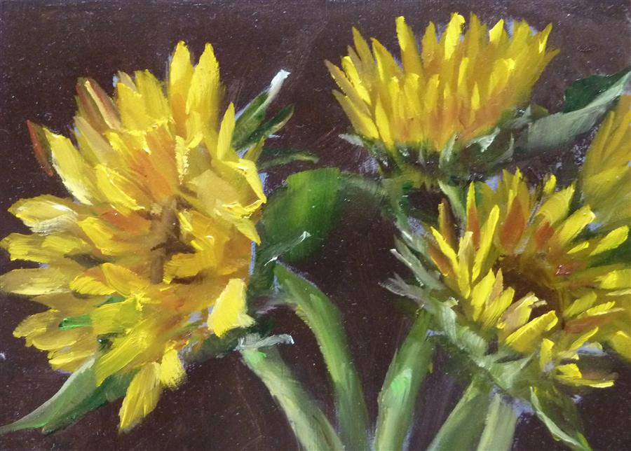Original art for sale at UGallery.com | Sunflowers by GARY BRUTON | $325 |  | 5' h x 7' w | ..\art\oil-painting-Sunflowers-45057