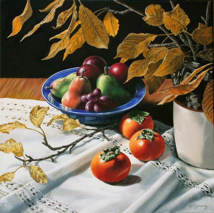 Original art for sale at UGallery.com | Still Life with Persimmons by SUSAN SJOBERG | $2,075 | Acrylic painting | 20' h x 20' w | ..\art\acrylic-painting-Still-Life-with-Persimmons