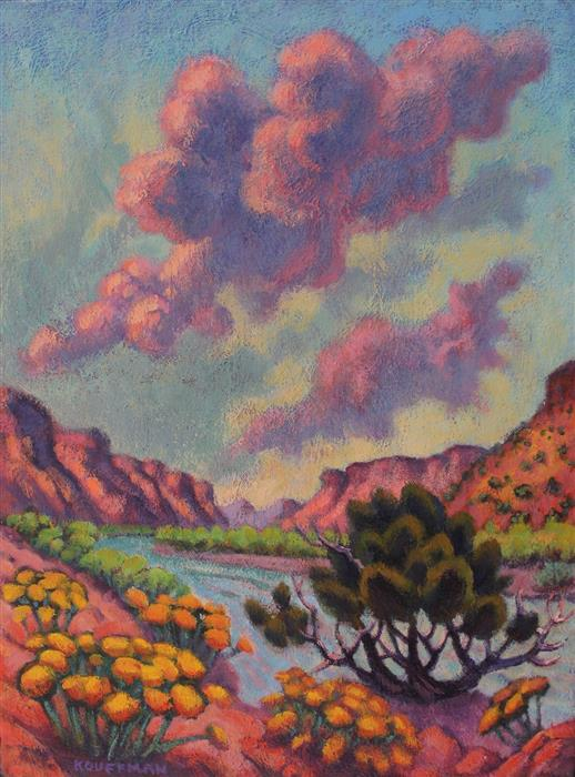 Original art for sale at UGallery.com | Rio Grande Awakening by JAKKI KOUFFMAN | $775 |  | 16' h x 12' w | ..\art\acrylic-painting-Rio-Grande-Awakening