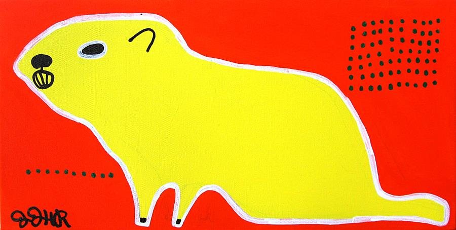 Original art for sale at UGallery.com | Yellow Groundhog by JESSICA JH ROLLER | $550 | Acrylic painting | 10' h x 20' w | ..\art\acrylic-painting-Yellow-Groundhog