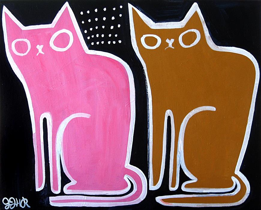 Original art for sale at UGallery.com | Two Old Cats by JESSICA JH ROLLER | $625 |  | 16' h x 20' w | ..\art\acrylic-painting-Two-Old-Cats