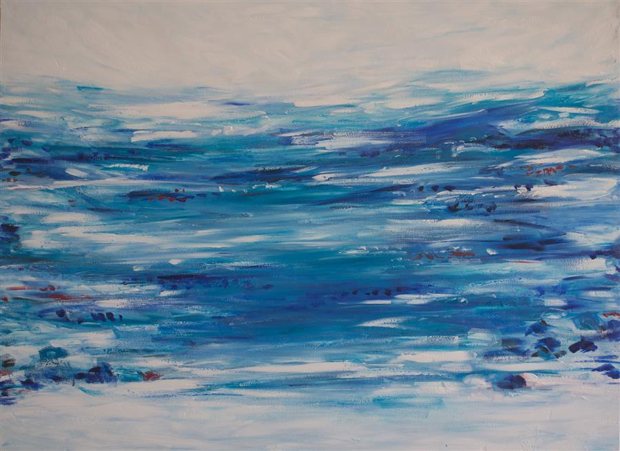 Original art for sale at UGallery.com | Ocean Front by KAJAL ZAVERI | $2,825 | Oil painting | 30' h x 40' w | ..\art\oil-painting-Ocean-Front