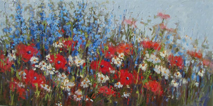 Original art for sale at UGallery.com | Poppy Field #3 by TRICIA MAY | $2,100 |  | 18' h x 36' w | ..\art\oil-painting-Poppy-Field-3