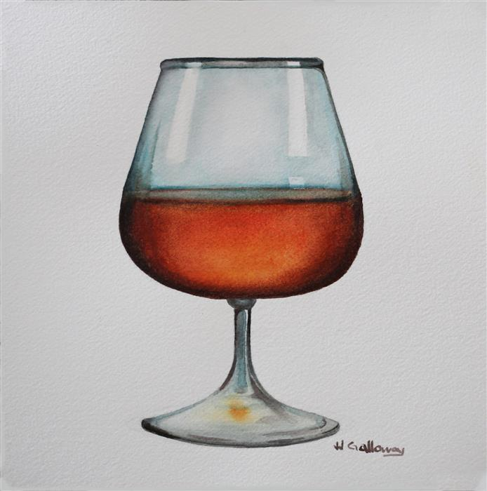 Original art for sale at UGallery.com | Rum by JJ GALLOWAY | $175 | Watercolor painting | 7.5' h x 7.5' w | ..\art\watercolor-painting-Rum