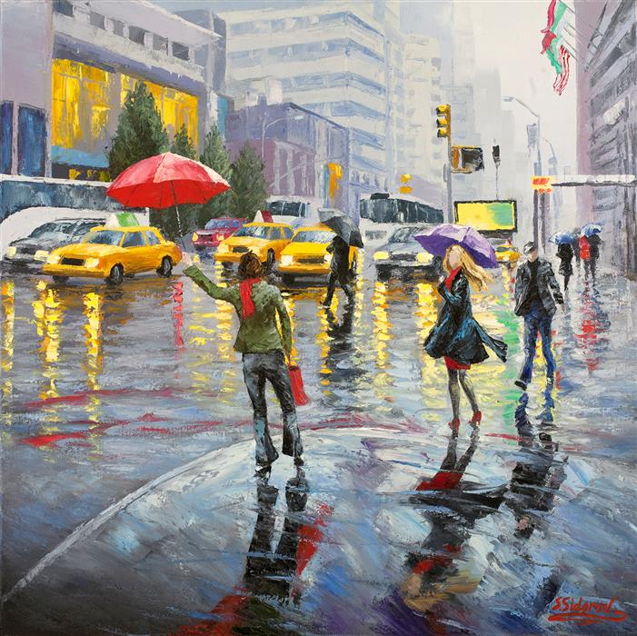 Original art for sale at UGallery.com | Busy New York Street by STANISLAV SIDOROV | $1,250 |  | 24' h x 24' w | ..\art\oil-painting-Busy-New-York-Street