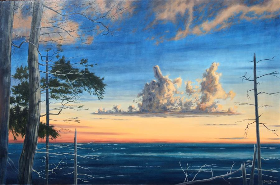 Original art for sale at UGallery.com | Sunset Amongst the Dead Pines by JAY JENSEN | $2,050 |  | 24' h x 36' w | ..\art\oil-painting-Sunset-Amongst-the-Dead-Pines