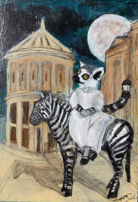 Original art for sale at UGallery.com | Lemur and her Zebra by KAT SILVER | $250 | Acrylic painting | 7' h x 5' w | ..\art\acrylic-painting-Lemur-and-her-Zebra