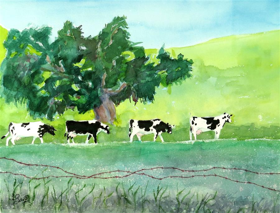 Original art for sale at UGallery.com | Cows at Work by NANCY MUREN | $600 | Watercolor painting | 17' h x 22' w | ..\art\watercolor-painting-Cows-at-Work