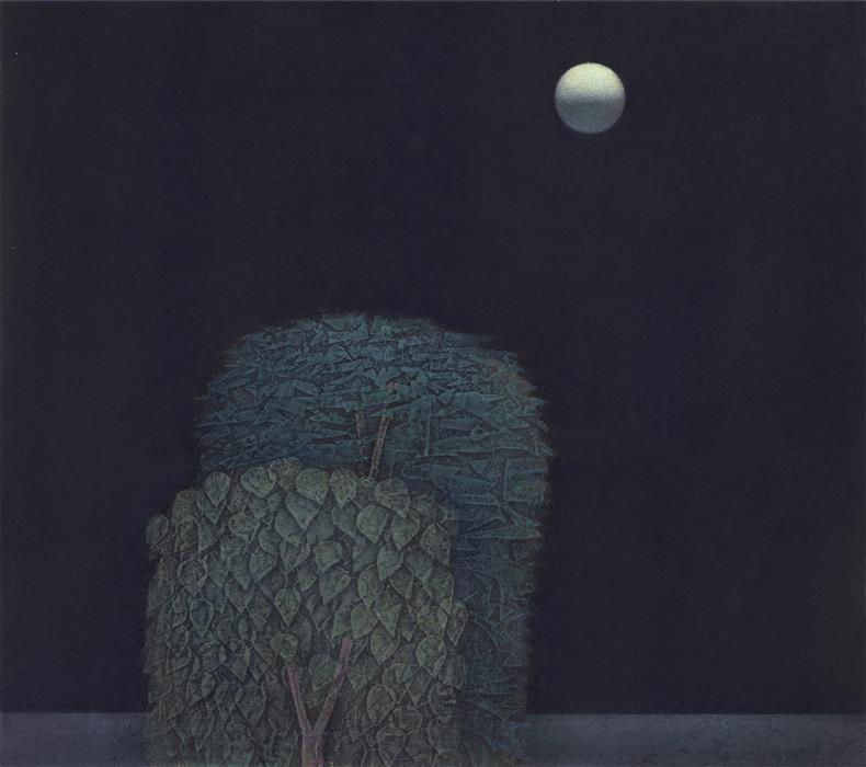 Original art for sale at UGallery.com | Fully Moon by SHAO YUAN ZHANG | $875 | Printmaking | 14' h x 16' w | ..\art\printmaking-Fully-Moon