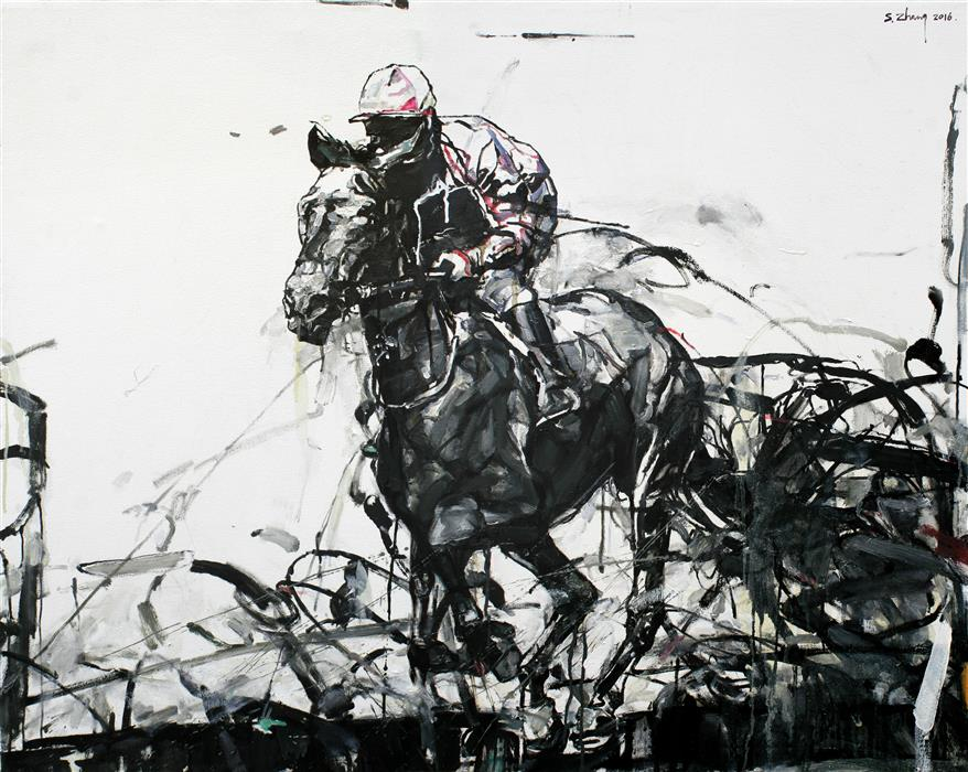 Original art for sale at UGallery.com | Race Track by SHAO YUAN ZHANG | $6,200 | Oil painting | 37.25' h x 46.5' w | ..\art\oil-painting-Race-Track