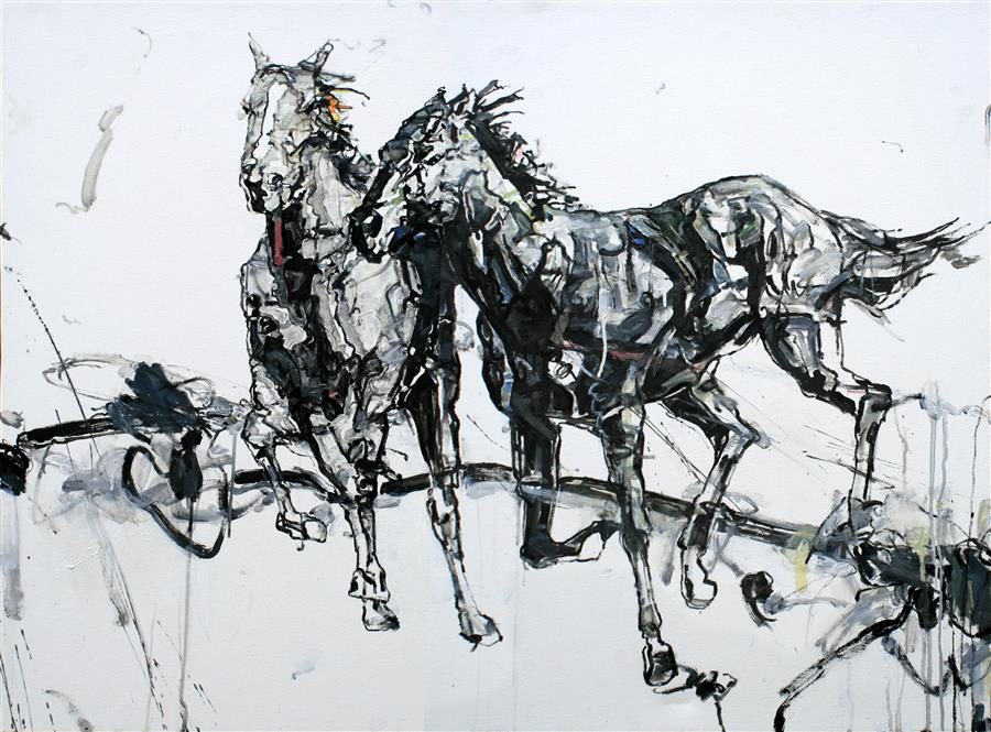 Original art for sale at UGallery.com | The Races by SHAO YUAN ZHANG | $6,175 | Oil painting | 36' h x 48' w | ..\art\oil-painting-The-Races