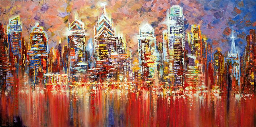 Original art for sale at UGallery.com | Philadelphia Experiment by TATIANA ILIINA | $3,375 | Acrylic painting | 24' h x 48' w | ..\art\acrylic-painting-Philadelphia-Experiment