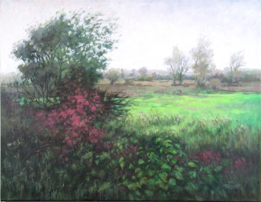 Original art for sale at UGallery.com | Wetland Sanctuary by Suzanne Massion | $975 | oil painting | 22' h x 28' w | ..\art\oil-painting-Wetland-Sanctuary
