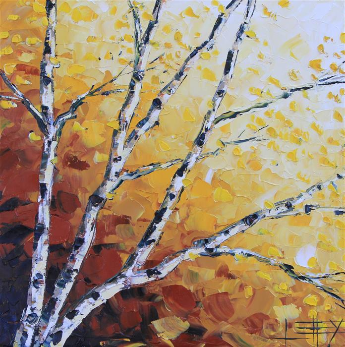 Original art for sale at UGallery.com | Ombre Autumn by LISA ELLEY | $750 | Oil painting | 20' h x 20' w | ..\art\oil-painting-Ombre-Autumn