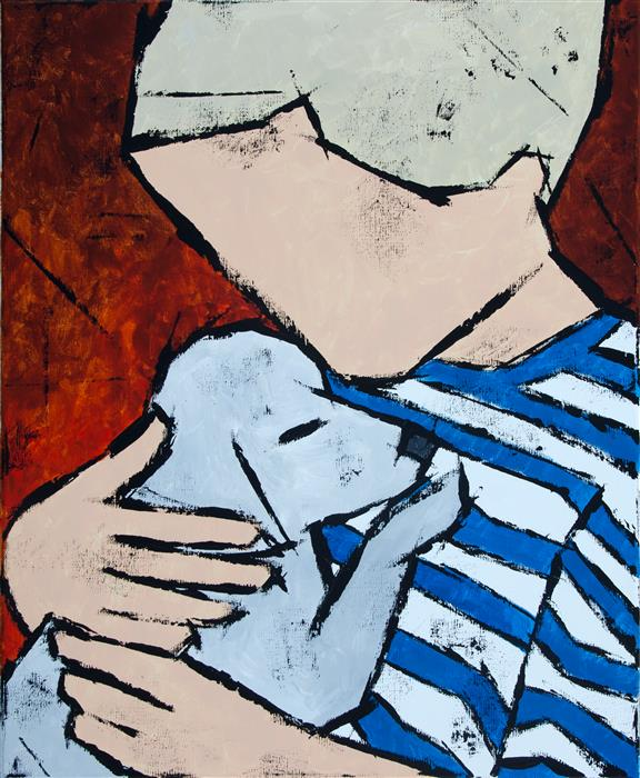 Original art for sale at UGallery.com | Boy with Puppy by TANYA GRABKOVA | $975 | Acrylic painting | 24' h x 20' w | ..\art\acrylic-painting-Boy-with-Puppy