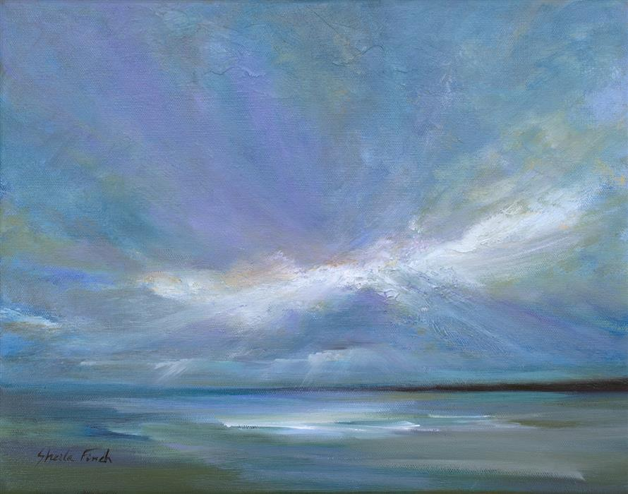 Original art for sale at UGallery.com | Coastal Clouds XXII by SHEILA FINCH | $975 | Oil painting | 11' h x 14' w | ..\art\oil-painting-Coastal-Clouds-XXII