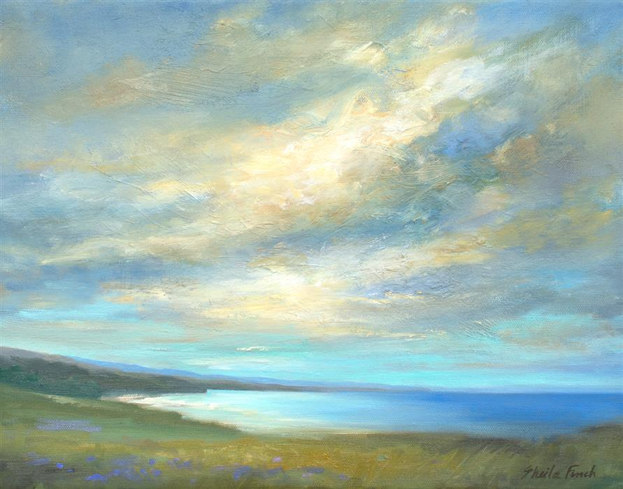 Original art for sale at UGallery.com | Coastal Clouds XXII by Sheila Finch | $900 | oil painting | 11' h x 14' w | ..\art\oil-painting-Coastal-Clouds-XXII
