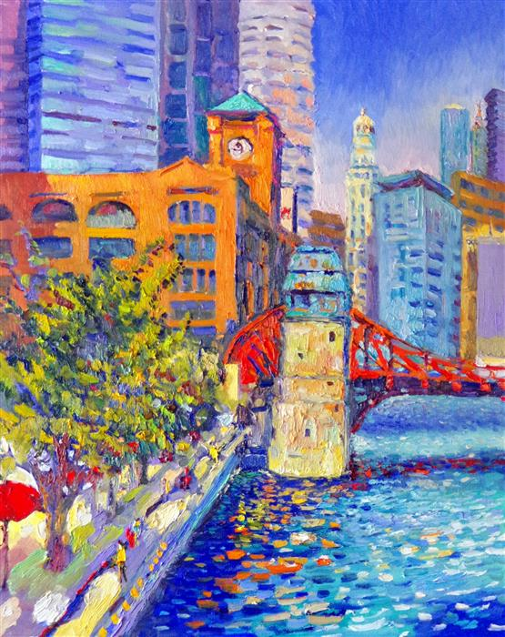 Original art for sale at UGallery.com | Chicago, Britannica Building, (Early Evening) by SUREN NERSISYAN | $1,475 |  | 30' h x 24' w | ..\art\oil-painting-Chicago-Britannica-Building-Early-Evening