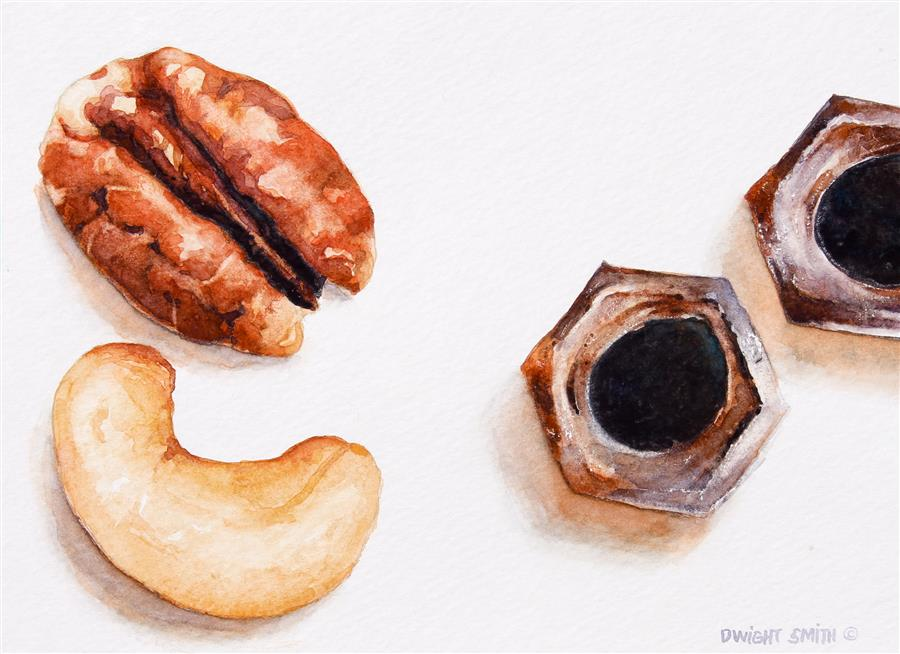 Original art for sale at UGallery.com | Nuts by DWIGHT SMITH | $225 | Watercolor painting | 5' h x 7' w | ..\art\watercolor-painting-Nuts