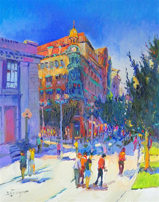Original art for sale at UGallery.com | Washington DC, (Corner of New York and 15th), Early Evening by SUREN NERSISYAN | $1,275 |  | 30' h x 24' w | ..\art\oil-painting-Washington-DC-Corner-of-New-York-and-15th-Early-Evening